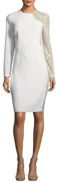 Elie Tahari Devalynne Long-Sleeve Lace-Side Dress