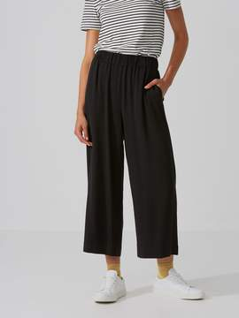 Frank and Oak Crepe Wide-Leg Cropped Pant in Black