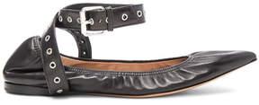 Valentino Ankle Strap Leather Ballerina Flats