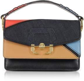 Paula Cademartori Grenadine Red Leather And Denim Twi Twi Boho Crossbody Bag