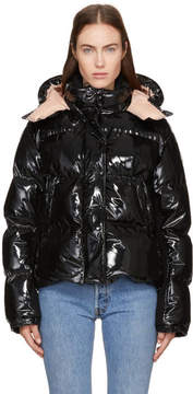 Moncler Black Down Shiny Hooded Gaura Jacket