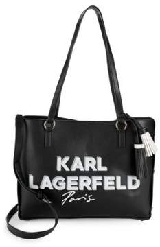 Karl Lagerfeld Leather Logo Shopper Tote Bag
