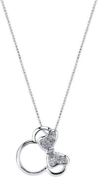 Disney Sterling Silver Minnie Mouse Pendant Necklace with Diamond Accents