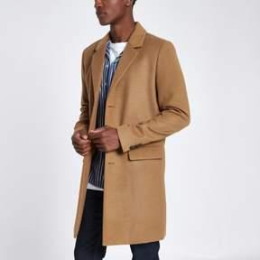 River Island Mens Camel smart overcoat
