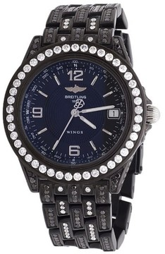 Breitling Chronometre Wings Automatic Black Pvd Diamond Unisex 38 Mm Watch