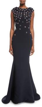 Zac Posen Floral-Embroidered Cowl-Neck Cap-Sleeve Crepe Evening Gown