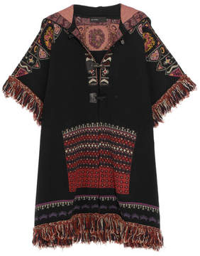 Etro Fringed Hooded Jacquard-knit Wool-blend Jacket - Black