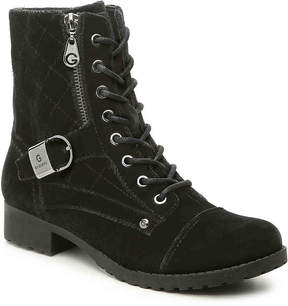 G by Guess Women's Brittain Velvet Combat Boot