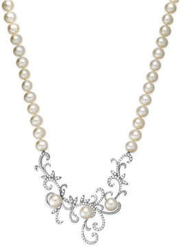 Arabella Cultured Freshwater Pearl (7 mm) and Swarovski Zirconia Swirl Pendant Necklace in Sterling Silver
