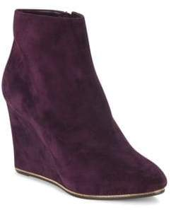 Salvatore Ferragamo Chain-Trimmed Suede Wedge Ankle Boots
