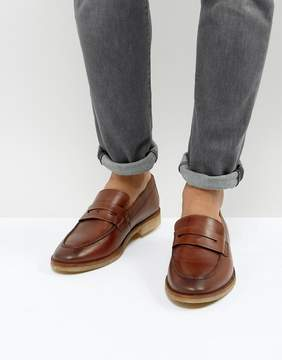 Asos Loafers In Tan Leather With Gum Sole