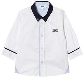 BOSS White and Navy Contrast Shirt