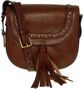 Fossil Women's Emi Embellished Leather Saddle Bag Leather Cross-Body Satchel - Medium Brown