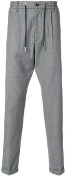 Eleventy check drawstring tailored trousers