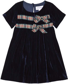 Rachel Riley Navy Velvet Dress with Tartan Bow Detail