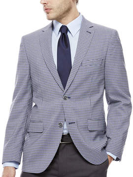 Co THE SAVILE ROW The Savile Row Company Blue Grey Check Sport Coat-Slim Fit