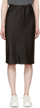 6397 Black Silk Bias Cut Skirt