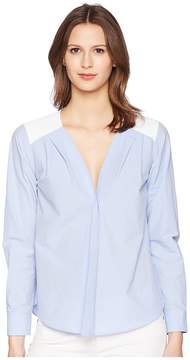 Jil Sander Navy Long Sleeve Cotton Blouse Women's Blouse