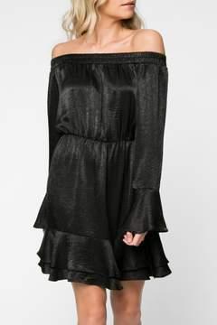 Everly Off Shoulder Satin Dress