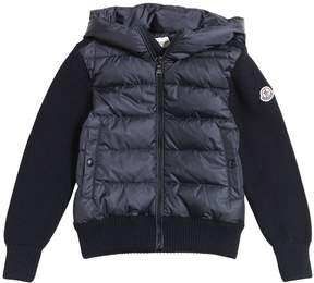 Moncler Hooded Nylon & Wool Knit Jacket