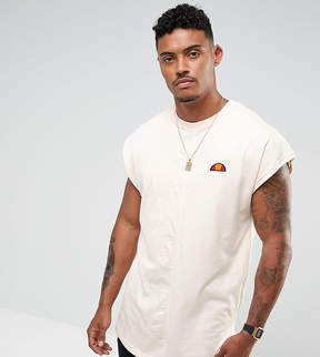 Ellesse Curved Hem T-Shirt With Split Logo In Stone