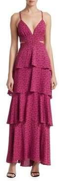 A.L.C. Titus Printed Ruffle Maxi Dress