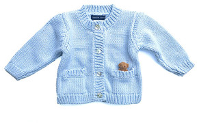 Blue & Cream Sky Brown Bear Cardigan - Infant