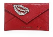 Marc Jacobs Hand To Heart Embellished Leather Envelope Clutch