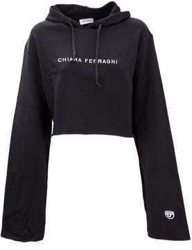 Chiara Ferragni Black Cotton Elongated Sleeve Hoodie