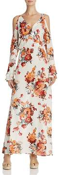 En Creme Cold-Shoulder Floral Print Maxi Dress