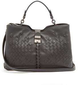 Bottega Veneta Napoli Medium Intrecciato Leather Bag - Womens - Black
