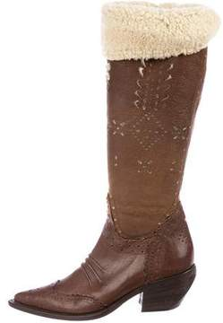 Ermanno Scervino Shearling-Trimmed Knee Boots