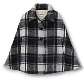 Lands' End Little Girls Fringed Woven Cape-Black/Ivory Plaid