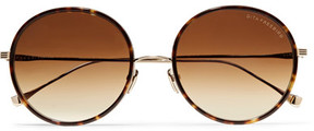 Dita Tokyo Round-frame Acetate And Gold-tone Mirrored Sunglasses - Tortoiseshell