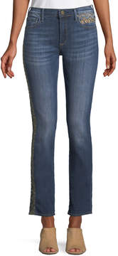 Driftwood Audrey Embroidered Straight-Leg Jeans