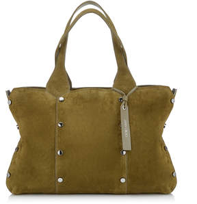 Jimmy Choo LOCKETT SHOPPER/S Olive Suede Tote Bag