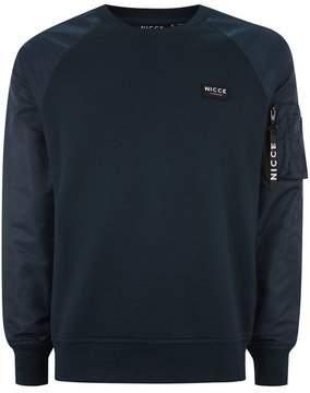 Nicce Navy Contrast Sweatshirt