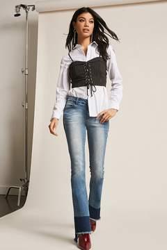 Forever 21 Denim Flare Frayed Jeans