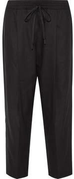 DKNY Linen-blend Tapered Pants - Black
