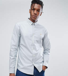 Farah Skinny Fit Button Down Oxford Shirt in Blue