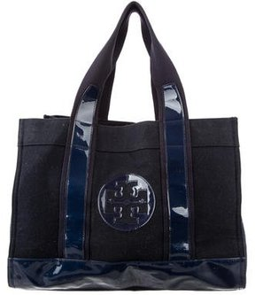 Tory Burch Patent Leather & Wool Tote - BLUE - STYLE