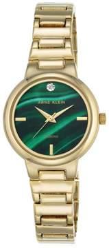 Anne Klein Goldtone Diamond-Accented Green Dial Bracelet Watch