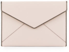 Rebecca Minkoff Leo Saffiano Envelope Clutch Bag - SOFT BLUSH - STYLE
