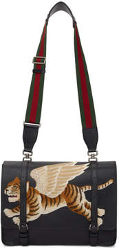 Gucci Black Flying Tiger Bamboo Messenger Bag