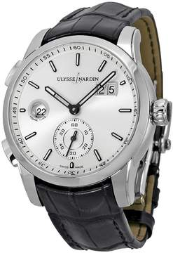 Ulysse Nardin GMT Dual Time Automatic Silver Dial Black Leather Men's Watch