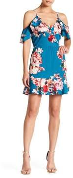 Band of Gypsies Floral Print Cold Shoulder Ruffle Dress