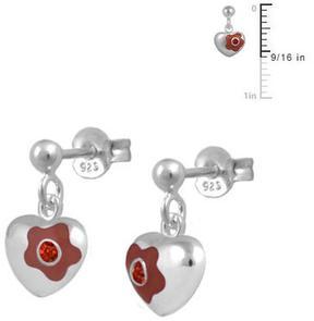 Ice Silver Flower Enamel Heart Dangling Girls' Earrings