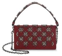 Tory Burch Cleo Embellished Foldover Clutch - RED - STYLE
