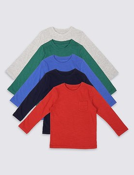 Marks and Spencer 5 Pack Cotton Rich Long Sleeve Tops (3 Months - 5 Years)