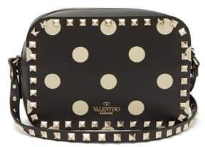 Valentino Rockstud Polka Dot Leather Camera Bag - Womens - Black White